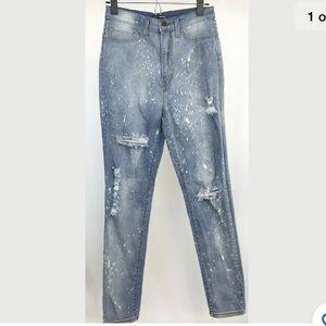 Fashion Nova High Rise Skinny Jeans Bleached 9